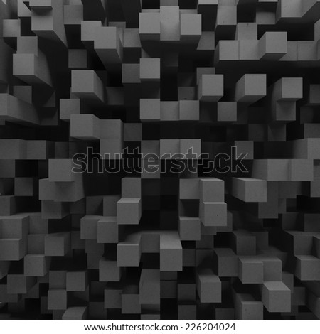 Black cubes grid background  - stock photo
