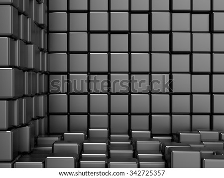 Black, cubic, corner space. Raster modern background. Can be used for graphic or website background