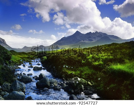 black cuillin mountains on the isle of skye in Scotland, Great Britain UK