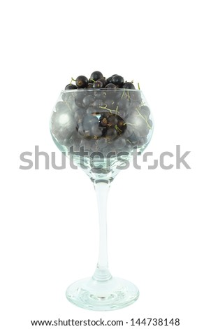 black currant in a glass and on a white background