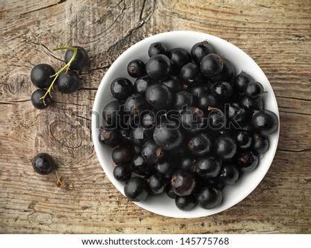 black currant in a white bowl - stock photo