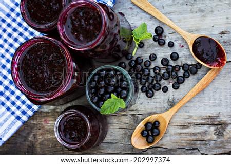 black currant jam - stock photo