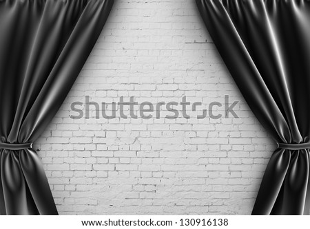 black curtain and brick wall - stock photo