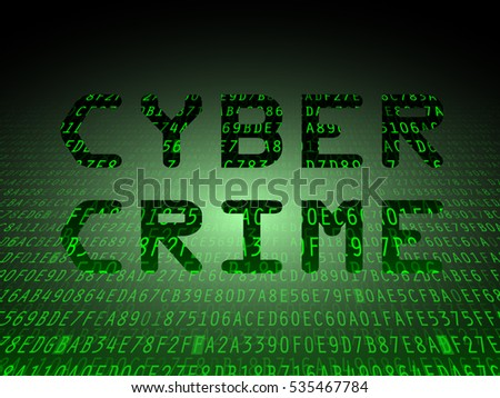 Black cyber crime letters on green data background