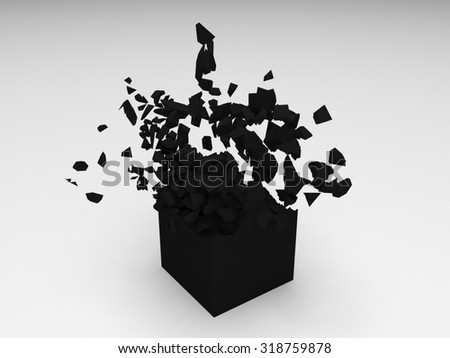 Black 3D cube object explosion with random particles - stock photo