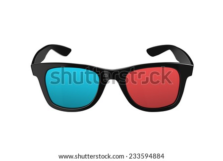 Black 3D glasses, for three dimensional movies or films, with plastic rims and red and blues lenses, both modern and retro fashion. Isolated on a white background with clipping path.  - stock photo