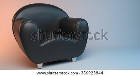 black 3D leather armchair - stock photo