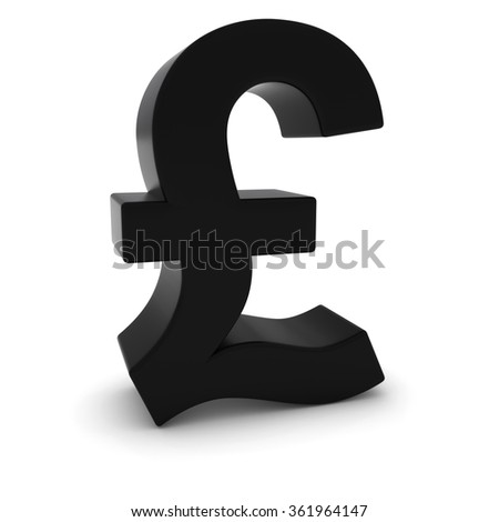 Black 3D Pound Symbol Isolated on White Background with Shadows