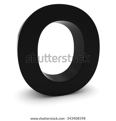 Black 3D Uppercase Letter O Isolated on white with shadows