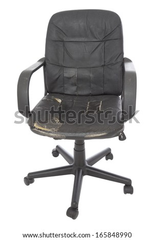 black damage leather chair on white background - stock photo