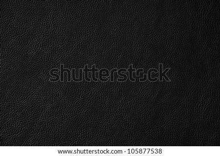 Black dark leather background or texture - stock photo
