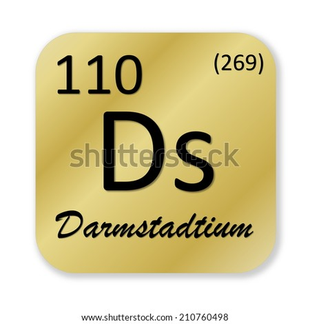 Black darmstadtium element into golden square shape isolated in white    Darmstadtium Element