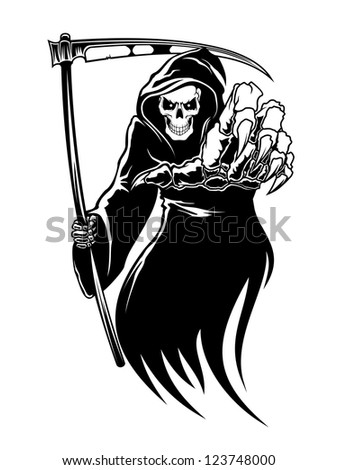 Black death monster with scythe for halloween concept. Vector version also available in gallery - stock photo