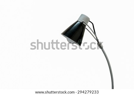 Black desk lamp isolated on white background