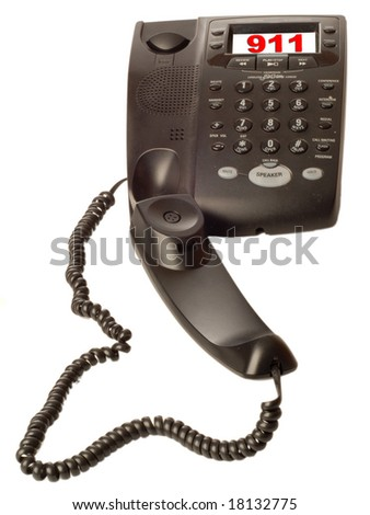 black desk top telephone with 911 on call display - stock photo