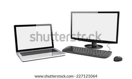 Black desktop pc computer with large wide monitor and laptop with a blank screen. Isolated on a white. 3d image 	 - stock photo