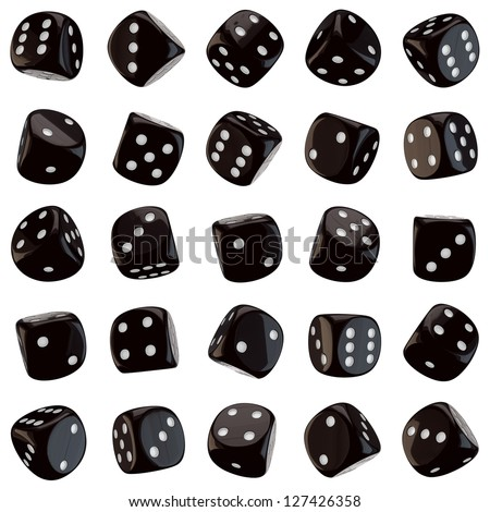 Black dice icons isolated on the white background