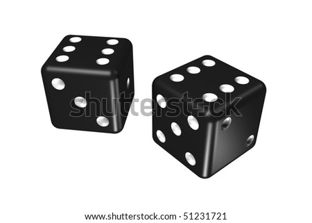 black dice (isolated on the white) - stock photo