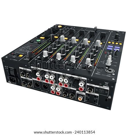 Black digital DJ mixer. Inputs and outputs - stock photo