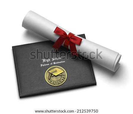 Black Diploma Cover with Rolled Degree Isolated on White Background. - stock photo