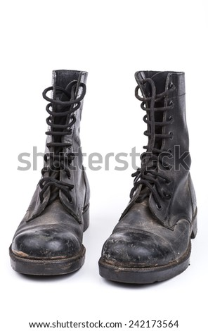 Black Dirty army boots isolated on white background