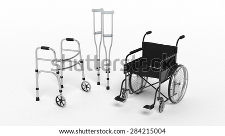 Black disability wheelchair, crutch and metallic walker isolated on white  - stock photo
