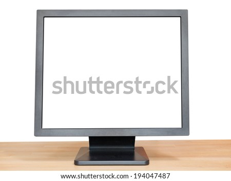 black display with cut out screen on wooden table isolated on white background
