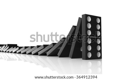 Black domino tiles falling in a row on to last one standing, isolated on white - stock photo