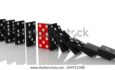 Black domino tiles in a row about to fall with red one standing on the way, on white - stock photo