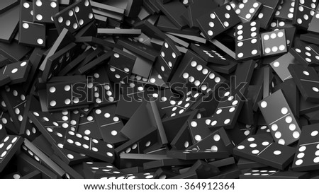 Black domino tiles pile abstract background - stock photo
