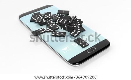 Black domino tiles randomly piled on smartphone screen, isolated on white - stock photo