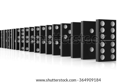 Black domino tiles set in a row, isolated on white - stock photo