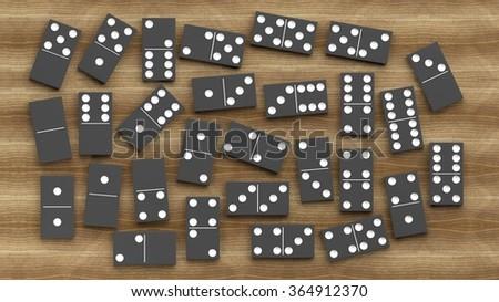 Black domino tiles set, on wooden background - stock photo