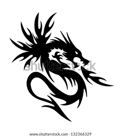 Black Dragon Fire On White Background Stock Illustration 132366329