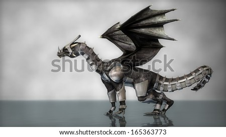 black dragon in armor