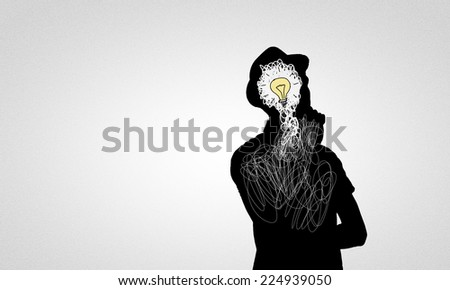 Black drawn silhouette of man on white backdrop - stock photo