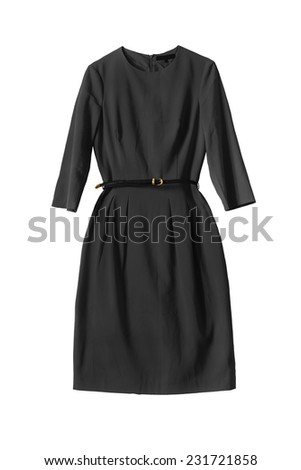 Black dress with a thin leather belt on white background - stock photo