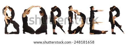 Black dressed people forming BORDER word over white