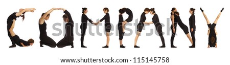 Black dressed people forming COMPANY word over white background
