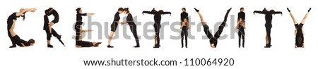 Black dressed people forming CREATIVITY word over white - stock photo