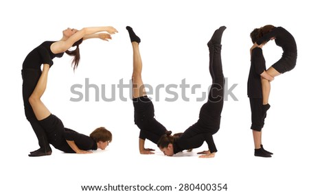 Black dressed people forming CUP word over white - stock photo