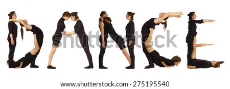 Black dressed people forming DANCE word over white