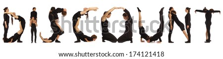 Black dressed people forming DISCOUNT word over white - stock photo
