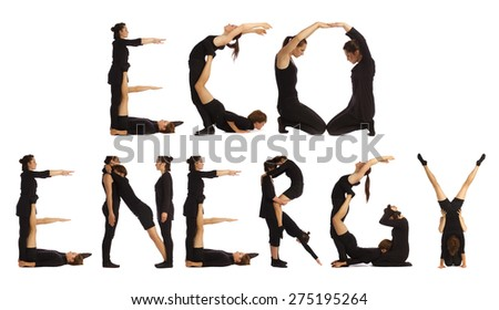 Black dressed people forming ECO ENERGY word over white