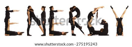 Black dressed people forming ENERGY word over white