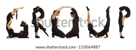 Black dressed people forming GROUP word over white