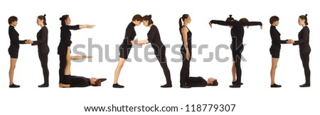 Black dressed people forming HEALTH word over white background