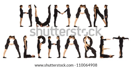 Black dressed people forming HUMAN ALPHABET word over white - stock photo