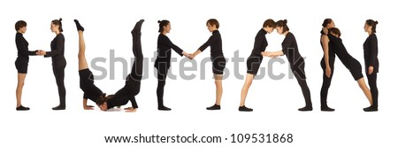 Black dressed people forming HUMAN word over white