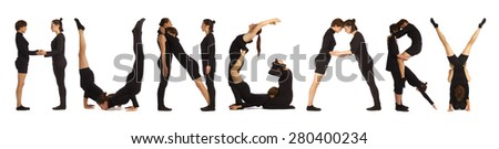 Black dressed people forming HUNGARY word over white - stock photo